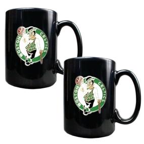 Boston Celtics 2pc Black Ceramic Mug Set