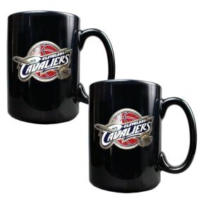 Cleveland Cavaliers 2pc Black Ceramic Mug Set