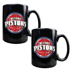 Detroit Pistons 2pc Black Ceramic Mug Set