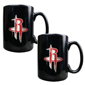 Houston Rockets 2pc Black Ceramic Mug Set