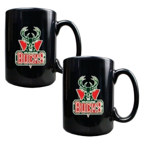 Milwaukee Bucks 2pc Black Ceramic Mug Set