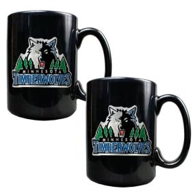 Minnesota Timberwolves 2pc Black Ceramic Mug Set
