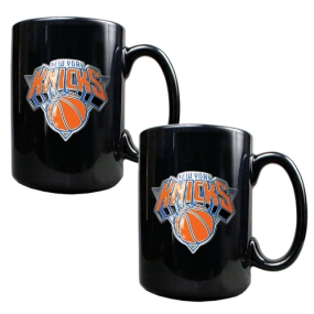 New York Knicks 2pc Black Ceramic Mug Set