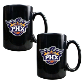Phoenix Suns 2pc Black Ceramic Mug Set