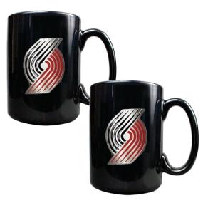 Portland Trailblazers 2pc Black Ceramic Mug Set