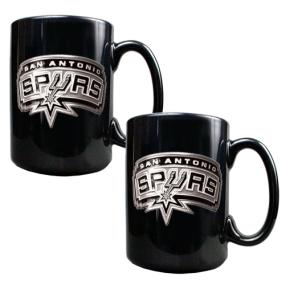 San Antonio Spurs 2pc Black Ceramic Mug Set