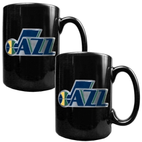 Utah Jazz 2pc Black Ceramic Mug Set