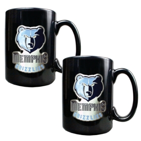 Memphis Grizzlies 2pc Black Ceramic Mug Set
