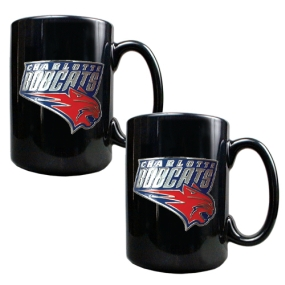 Charlotte Bobcats 2pc Black Ceramic Mug Set