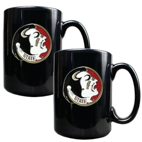 Florida State Seminoles 2pc Black Ceramic Mug Set