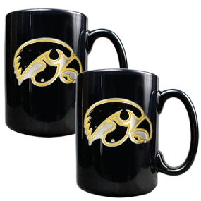 Iowa Hawkeyes 2pc Black Ceramic Mug Set