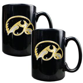 Iowa Hawkeyes 2pc Black Ceramic Mug Set