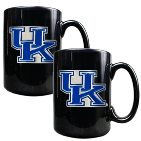 Kentucky Wildcats 2pc Black Ceramic Mug Set