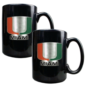 Miami Hurricanes 2pc Black Ceramic Mug Set