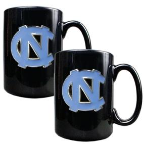UNC Tar Heels 2pc Black Ceramic Mug Set