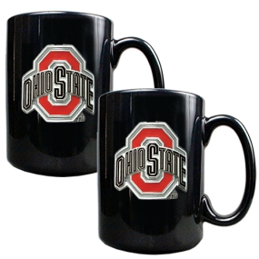 Ohio State Buckeyes 2pc Black Ceramic Mug Set