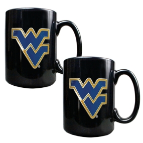 West Virginia Mountaineers 2pc Black Ceramic Mug Set