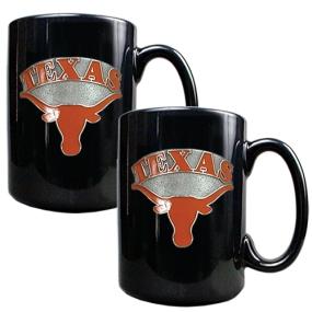 Texas Longhorns 2pc Black Ceramic Mug Set