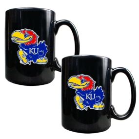 Kansas Jayhawks 2pc Black Ceramic Mug Set