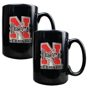 Nebraska Cornhuskers 2pc Black Ceramic Mug Set