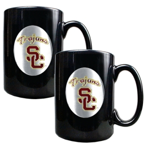 USC Trojans 2pc Black Ceramic Mug Set
