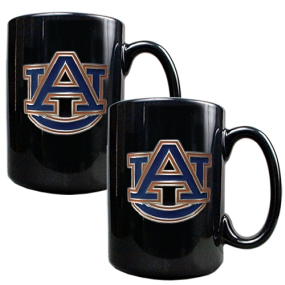 Auburn Tigers 2pc Black Ceramic Mug Set