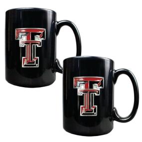 Texas Tech Red Raiders 2pc Black Ceramic Mug Set