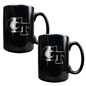 Georgia Tech Yellow Jackets 2pc Black Ceramic Mug Set
