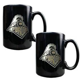 Purdue Boilermakers 2pc Black Ceramic Mug Set