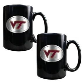 Virginia Tech Hokies 2pc Black Ceramic Mug Set