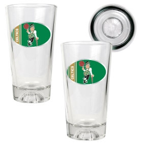Boston Celtics 2pc Pint Ale Glass Set with Basketball Bottom