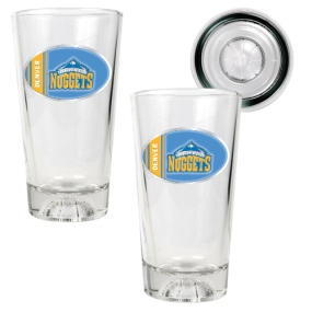 Denver Nuggets 2pc Pint Ale Glass Set with Basketball Bottom