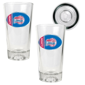 Los Angeles Clippers 2pc Pint Ale Glass Set with Basketball Bottom