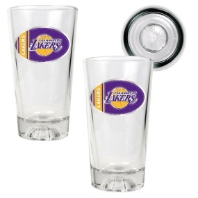 Los Angeles Lakers 2pc Pint Ale Glass Set with Basketball Bottom