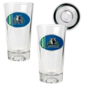 Minnesota Timberwolves 2pc Pint Ale Glass Set with Basketball Bottom