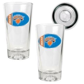 New York Knicks 2pc Pint Ale Glass Set with Basketball Bottom
