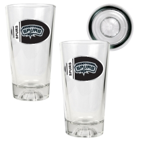 San Antonio Spurs 2pc Pint Ale Glass Set with Basketball Bottom