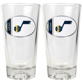 Utah Jazz 2pc Pint Ale Glass Set with Basketball Bottom
