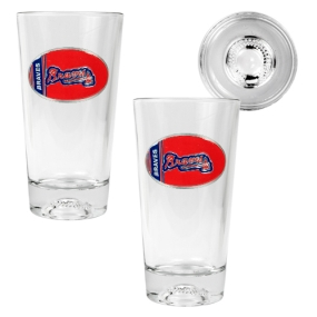 Atlanta Braves 2pc Pint Ale Glass Set with Baseball Bottom