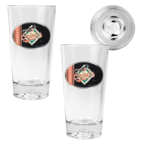 Baltimore Orioles 2pc Pint Ale Glass Set with Baseball Bottom
