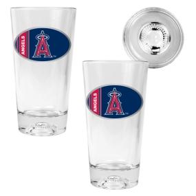 Anaheim Angels 2pc Pint Ale Glass Set with Baseball Bottom