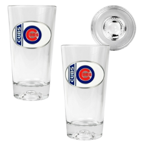 Chicago Cubs 2pc Pint Ale Glass Set with Baseball Bottom