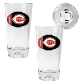 Cincinnati Reds 2pc Pint Ale Glass Set with Baseball Bottom