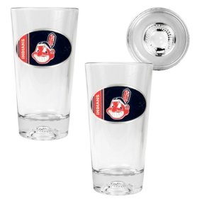 Cleveland Indians 2pc Pint Ale Glass Set with Baseball Bottom