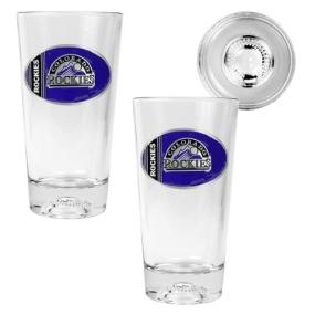 Colorado Rockies 2pc Pint Ale Glass Set with Baseball Bottom