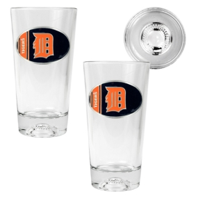 Detroit Tigers 2pc Pint Ale Glass Set with Baseball Bottom