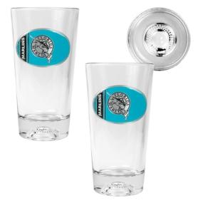 Florida Marlins 2pc Pint Ale Glass Set with Baseball Bottom