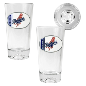Los Angeles Dodgers 2pc Pint Ale Glass Set with Baseball Bottom