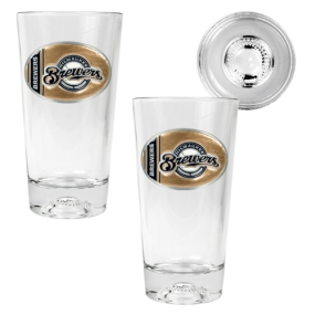 Milwaukee Brewers 2pc Pint Ale Glass Set with Baseball Bottom
