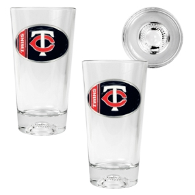Minnesota Twins 2pc Pint Ale Glass Set with Baseball Bottom